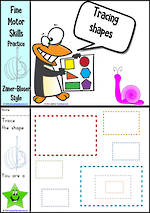 Kindergarten Handwriting | Practice | Tracing Shapes | Colour Charts | Zaner-Bloser Style