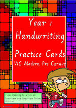 Year 1 Handwriting | Practice | A-Z Letter- Word - Number | VIC PreCursive