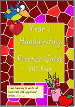 Year 1 Handwriting | Practice | Letter - Number - Sentence | Cards | VIC Print