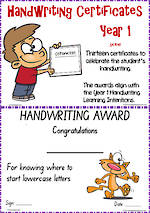 Year 1 Handwriting | Visible Learning | Certificates | SA Print