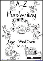 Year 1 Handwriting | Management | Letter – Word | Black and White | Charts | SA Print