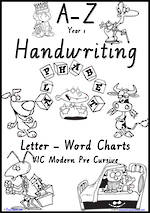 Year 1 Handwriting | Management | Letter – Word | Black and White | Charts | VIC PreCursive
