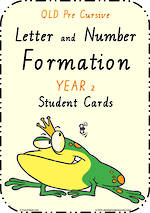 Year 2 | Handwriting | Letter Formation | Table  Cards | QLD PreCursive