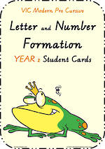 Year 2 | Handwriting | Letter Formation | Table  Cards | VIC PreCursive
