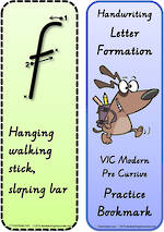 Year 2 Handwriting | Terminology | Bookmark | Lowercase Letter | Cards | VIC PreCursive