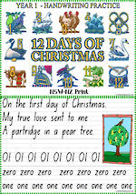 Christmas | Twelve Days of Christmas | Year 1 Handwriting Practice | NSW-NZ Print