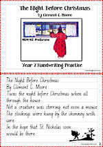 Christmas | The Night Before Christmas | Year 2  Handwriting  Practice | NSW-NZ PreCursive