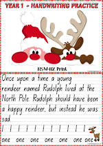 Christmas | Rudolph the Red-Nosed Reindeer | Year 1 Handwriting Practice | NSW-NZ Print
