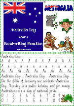 Australia Day | Year 2  Handwriting  Practice | NSW-NZ PreCursive