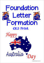Australia Day | Foundation Handwriting | Letter Formation Practice | QLD Print