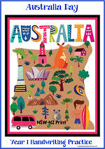 Australia Day | Year 1 Handwriting Practice | NSW-NZ Print