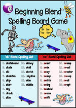 sk- sw-tw-thr-Blends | Spelling | Board Game