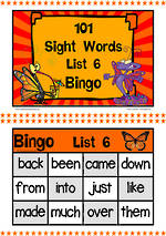 101 | Orange | List 6 | Sight Words | Bingo