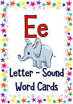 Letter Ee | Word | Cards | VIC Print