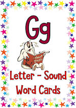 Letter Gg | Word | Cards | Zaner-Bloser Style