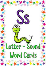 Letter Ss | Word | Cards | QBeginners