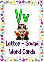 Letter Vv | Word | Cards | VIC PreCursive
