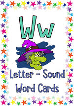 Letter Ww | Word | Cards | QBeginners