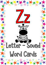 Letter Zz   Word   Cards   VIC Print