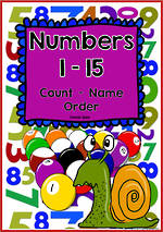 Numbers 1-15 | Learning Intention Chart and Cards | Comic Sans