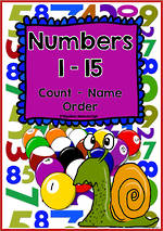 Numbers 1-15 | Learning Intention Chart and Cards | D'Nealian Manuscript