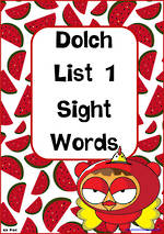 Sight Words |  Dolch Pre-Primer | List 1 | SA Print  Cards