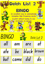 Sight Words |  Bingo Game |  Dolch Primer |  List 2 |  NSW-NZ Print
