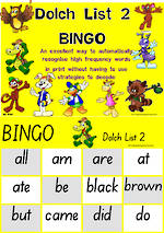 Sight Words |  Bingo Game |  Dolch Primer | List 2 | SA Print