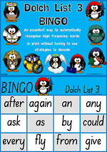 Sight Words |  Bingo Game |  Dolch Grade 1 | List 3  |  SA Print