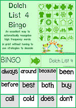 Sight Words | Bingo Game | Dolch Grade 2 | List 4