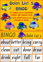 Sight Words |  Bingo Game |  Dolch Grade 3 | List 5 | QLD Print