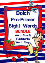 Sight Words |  Dolch Pre-Primer | List 1 | BUNDLE