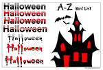 Halloween | A-Z  Word List | Card