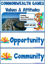 GC 2018 | Commonwealth Games | Values & Attitudes | Words | Meaning | Achievement Certificates