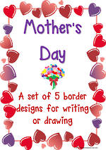 Mother's  Day | Heart and Flower  Borders | Template | Blank Page