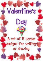 Valentine's Day | Heart and Flower  Borders | Template | Blank Page