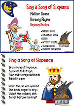 Nursery Rhyme | Sing a Song of Sixpence | Emergent Reading  Activities