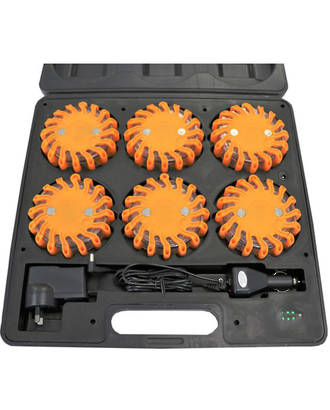 Rechargeable LED Road Flares, kit of 6