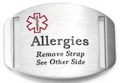 Stainless Steel Medical Alert Plaque - Allergies Remove Strap See Other Side