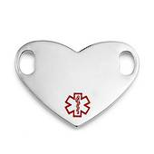 Stainless Steel Small Heart Symbol Medical ID Tag