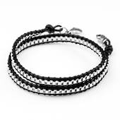 Stainless Chain Black Leather Double Wrap