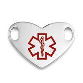 Stainless Steel Large Medical ID tag Heart