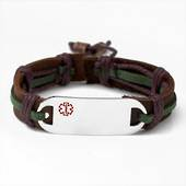 Leather and Hemp Medical ID Bracelet -Adults