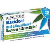 Maxiclear Hayfever and Sinus Relief Tablets (Loratadine & Phenylephrine) 30 Tablets