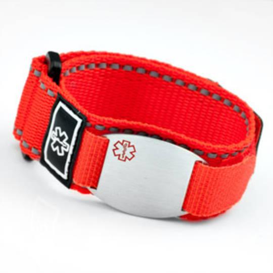 Medical Alert Velcro Sport Strap Band Bracelet with Engraveable Plaque (Various Colours)