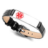 Black Leather ID Bracelet with Thin Silver Tag & Medical Symbol