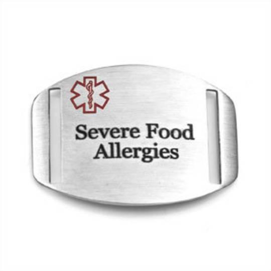 Stainless Steel Medical Alert Plaque - Severe Food Allergies