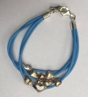 Blue Heart Charm Bracelet (15cm length)