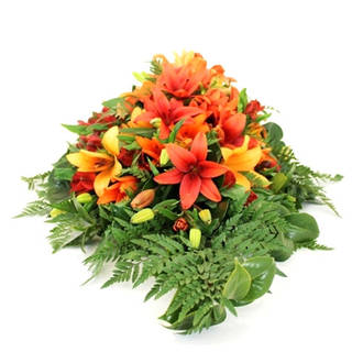 Orange Lily Casket Spray