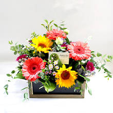 Seasonal Mix Fresh Flowers In a Rustic Box